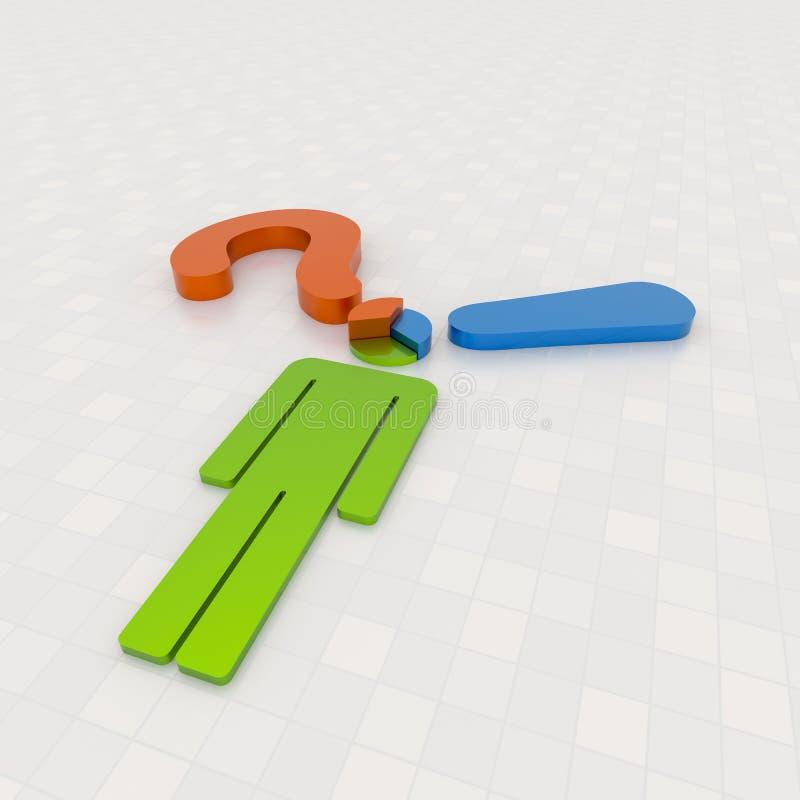 Долевая диограмма решения сделанная с пунктуациями и бизнесменом иллюстрация вектора
