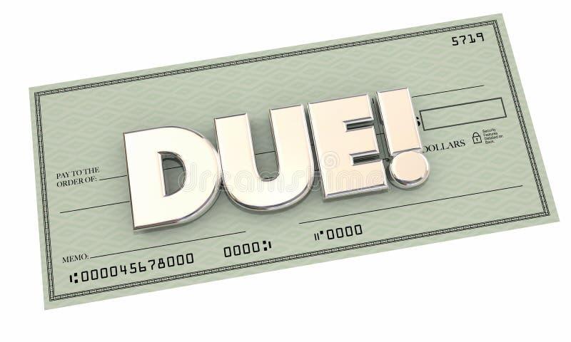 Должное собрание Билла денег оплаты чека иллюстрация вектора
