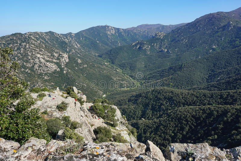 Долина Lavail Пиренеи Orientales Франции стоковое изображение