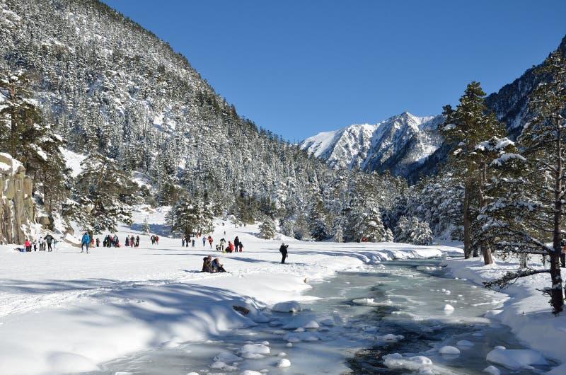 Долина Marcadau в зиме стоковые изображения