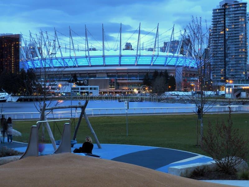 ДО РОЖДЕСТВА ХРИСТОВА установите стадион в Ванкувере стоковая фотография