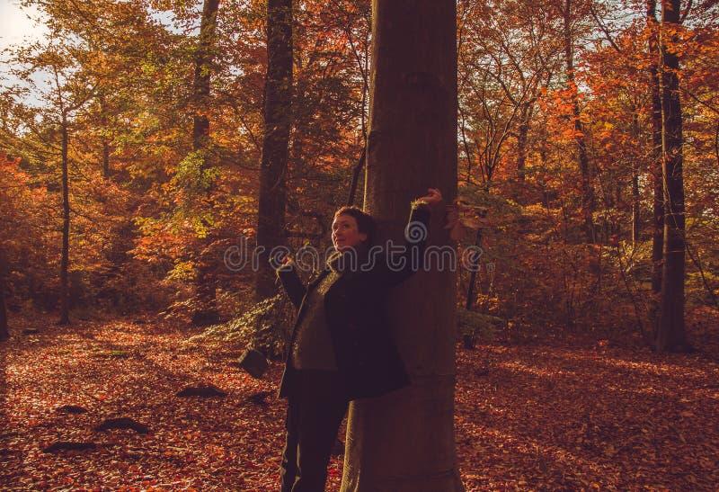 До свидания лето! Dreamily женщина в лесе осени стоковое фото