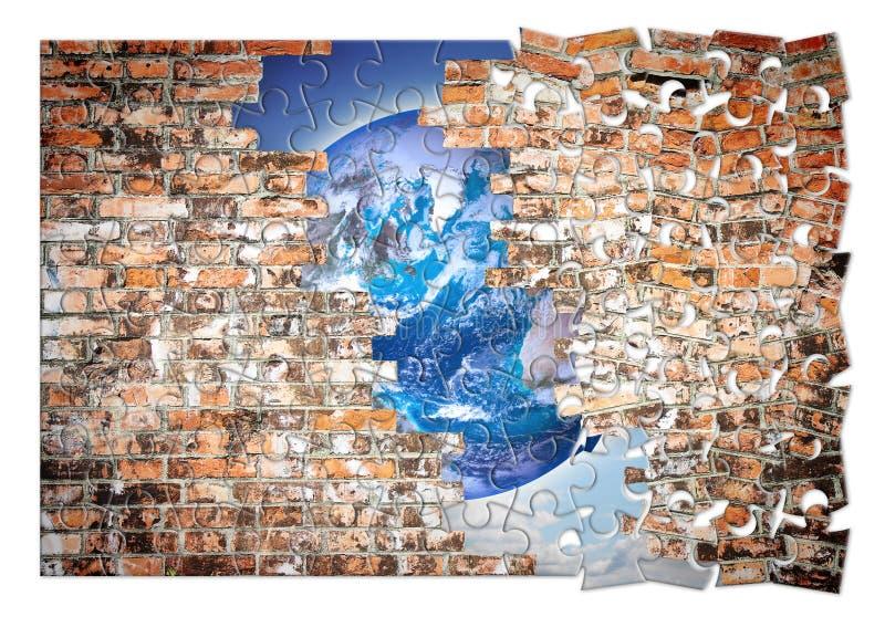 До треснутая стена вы можете увидеть мир - изображение концепции свободы в sgape головоломки бесплатная иллюстрация