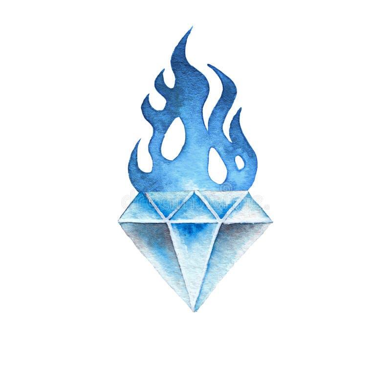 Драгоценная камень акварели пламенеющая бесплатная иллюстрация