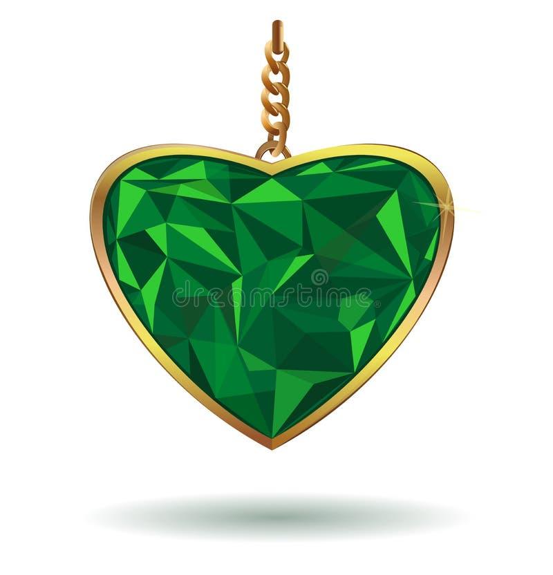 Драгоценная камень изумруда сердца влюбленности Изумрудное сердце в рамке золота Зеленые сердца искры Изумрудный камень самоцвета бесплатная иллюстрация