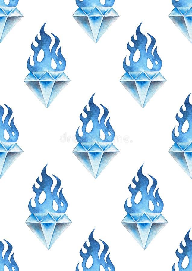 Драгоценные камни акварели пламенеющие бесплатная иллюстрация