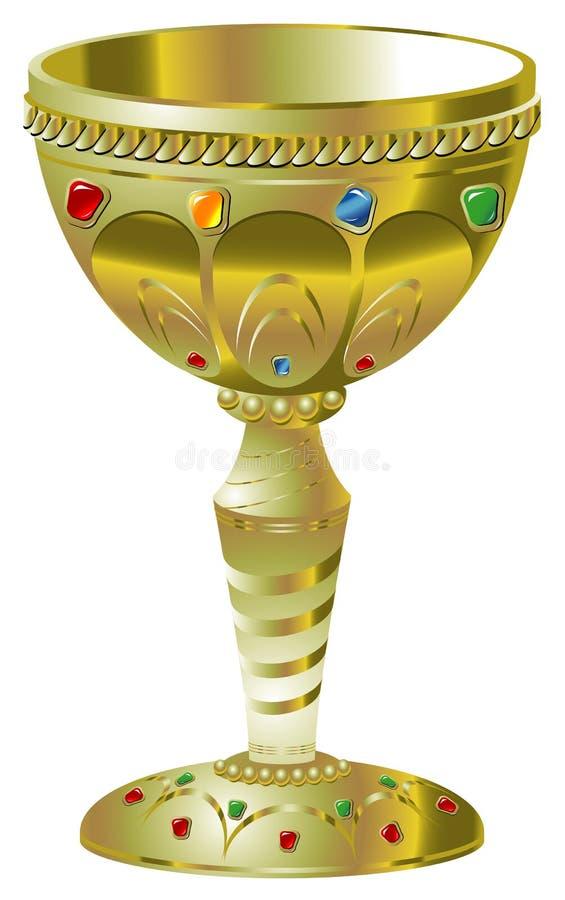 драгоценные камни кубка золотистые иллюстрация штока