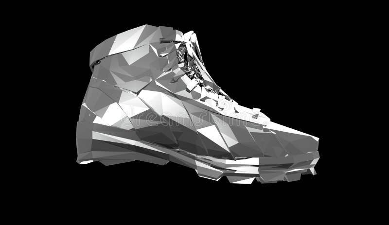 Драгоценный металл резвится ботинки, низкие поли тапки с трудными краями и сияющие стороны Резвит метафора достижения фитнеса бесплатная иллюстрация