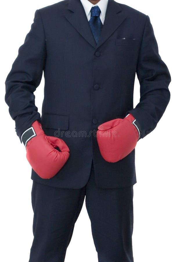 драка бизнесмена готовая к стоковое изображение rf