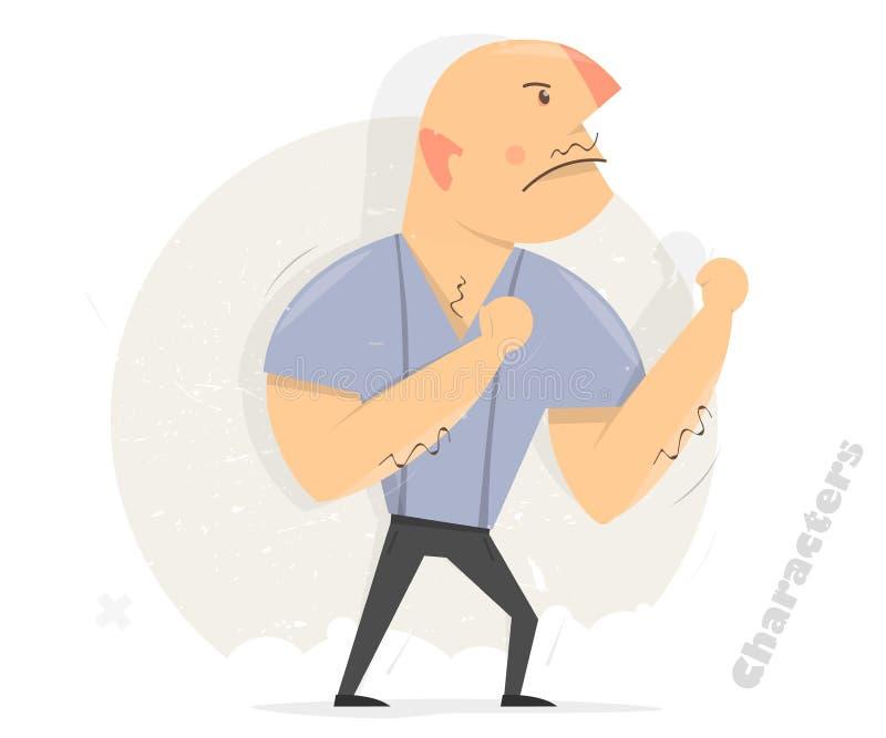 драка готовая к агрессивныйый человек боксер смешной иллюстрация штока