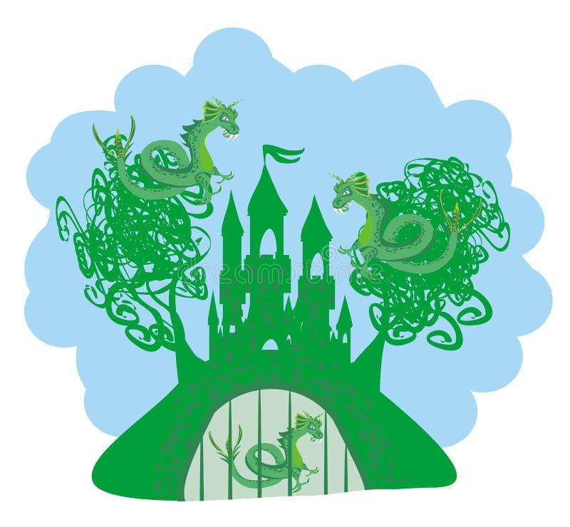 Драконы атакуя замок иллюстрация штока
