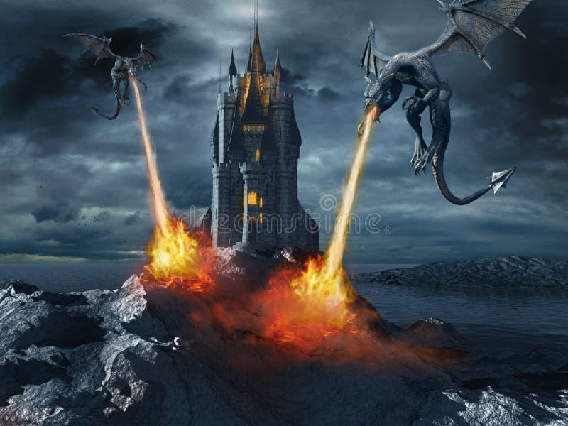 Драконы атакуя замок иллюстрация вектора