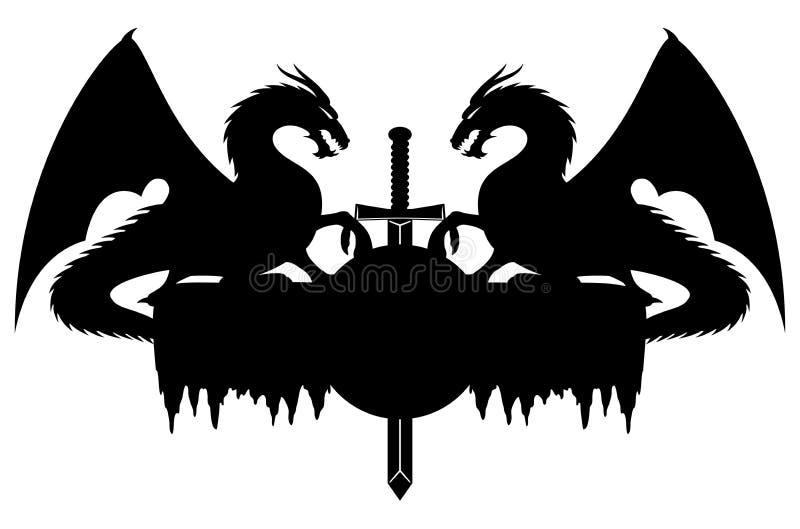 Драконы и шпага иллюстрация вектора