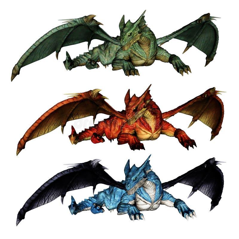 Драконы с протягиванными крылами в зеленые красной и голубой иллюстрация штока