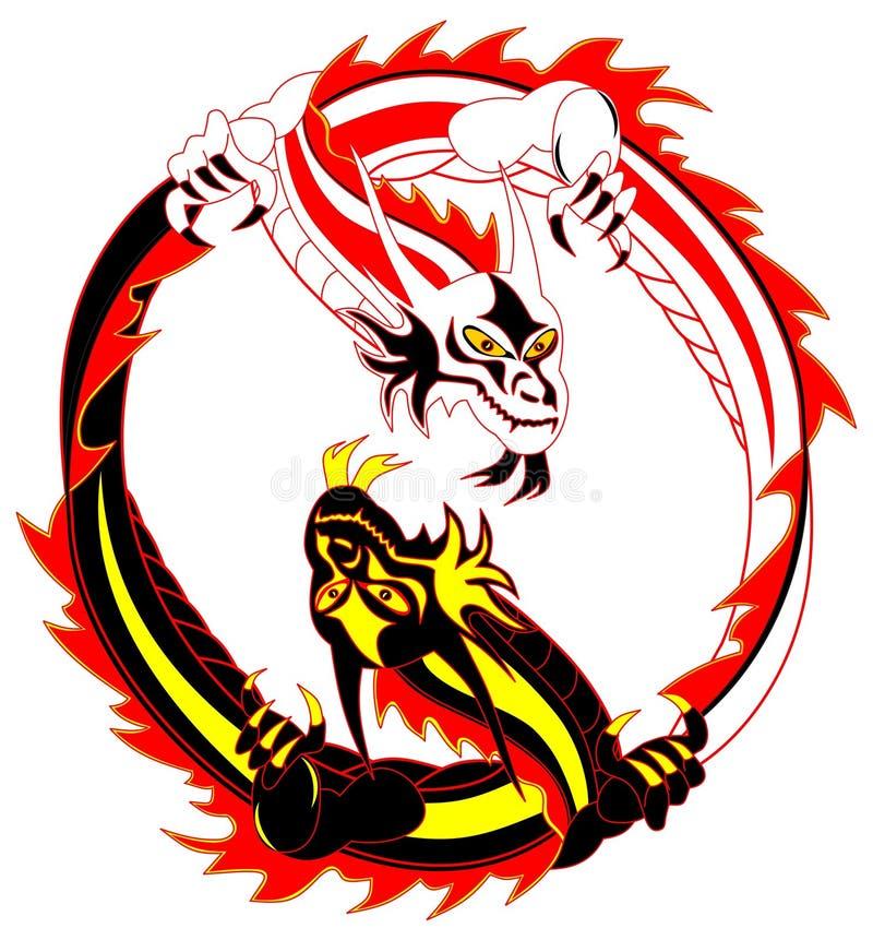 драконы иллюстрация штока