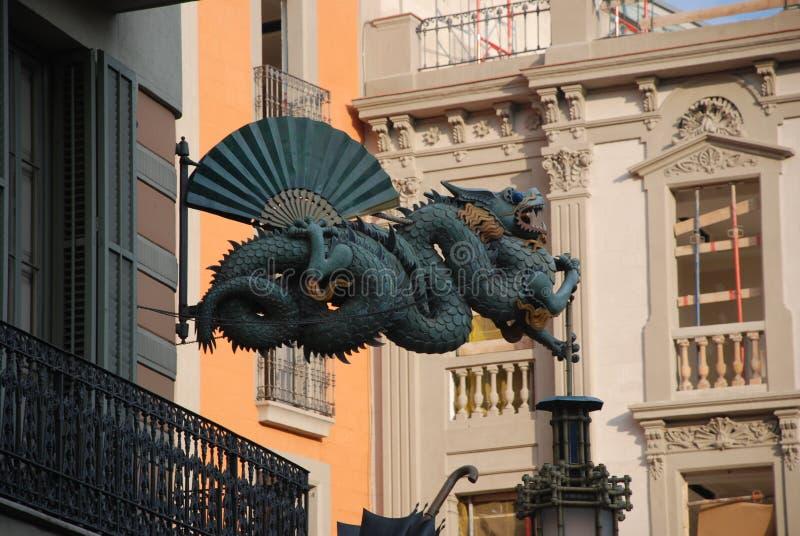 Дракон в городе Барселоны стоковое изображение
