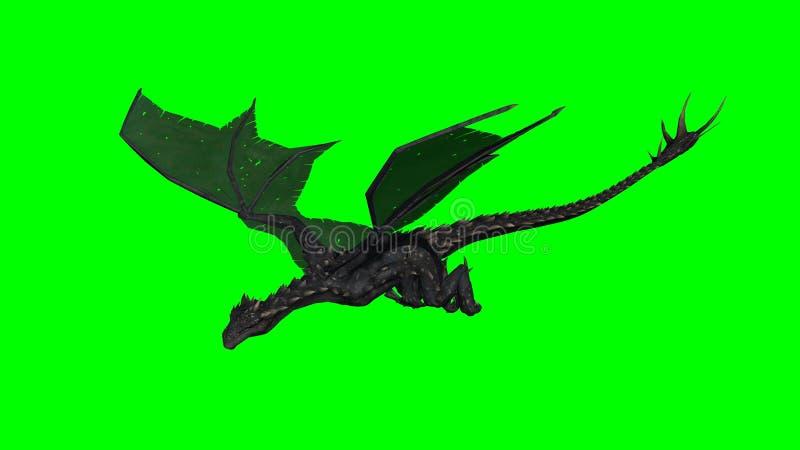 Дракон в полете - зеленый экран иллюстрация вектора