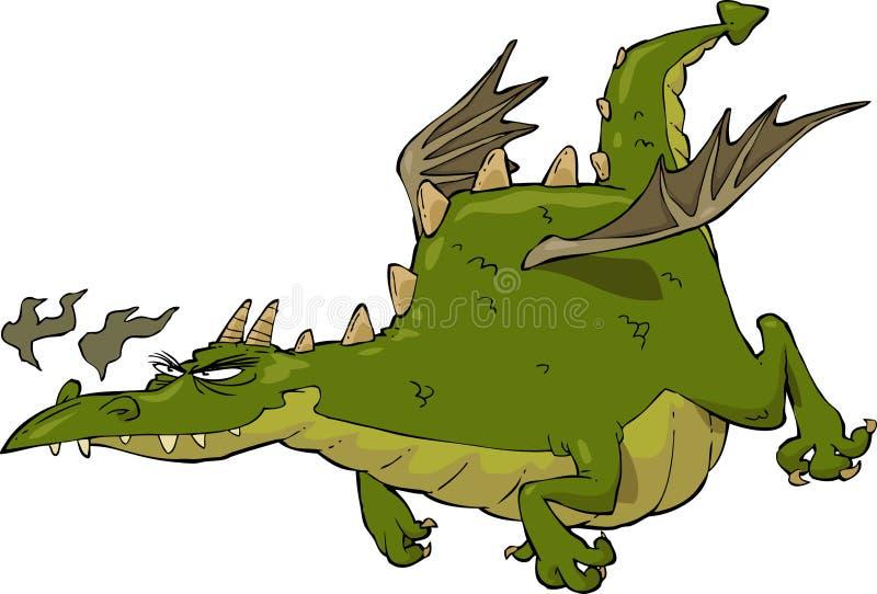 Дракон в полете иллюстрация штока