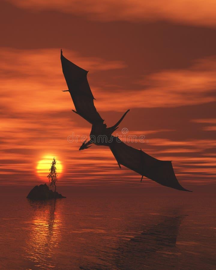 Дракон летая низко над морем на заходе солнца бесплатная иллюстрация