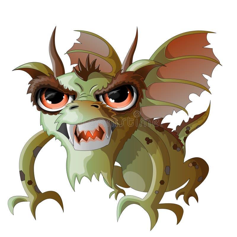Дракон, зеленый цвет, огн-дышающ, большие глаза иллюстрация штока
