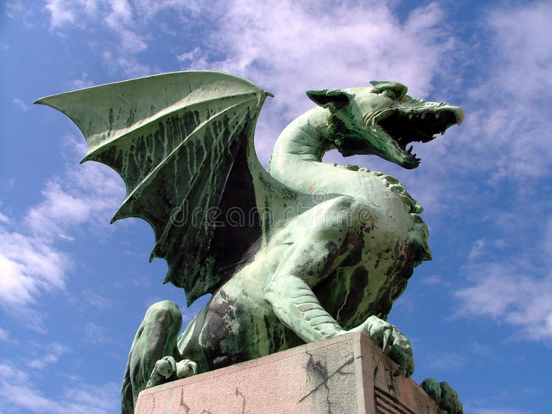 дракон зеленый ljubljana Словения стоковые фотографии rf