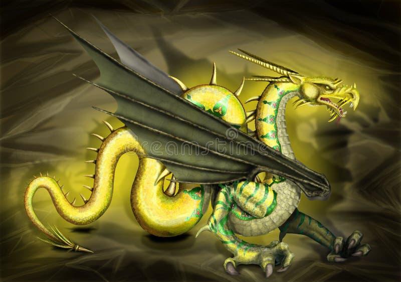 дракон золотистый иллюстрация штока