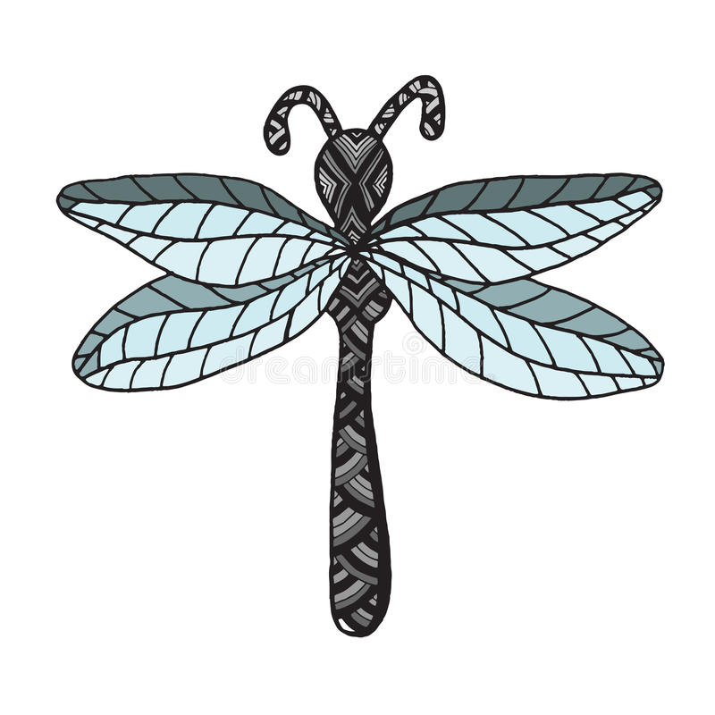 Дракон-муха насекомого на белой предпосылке иллюстрация вектора