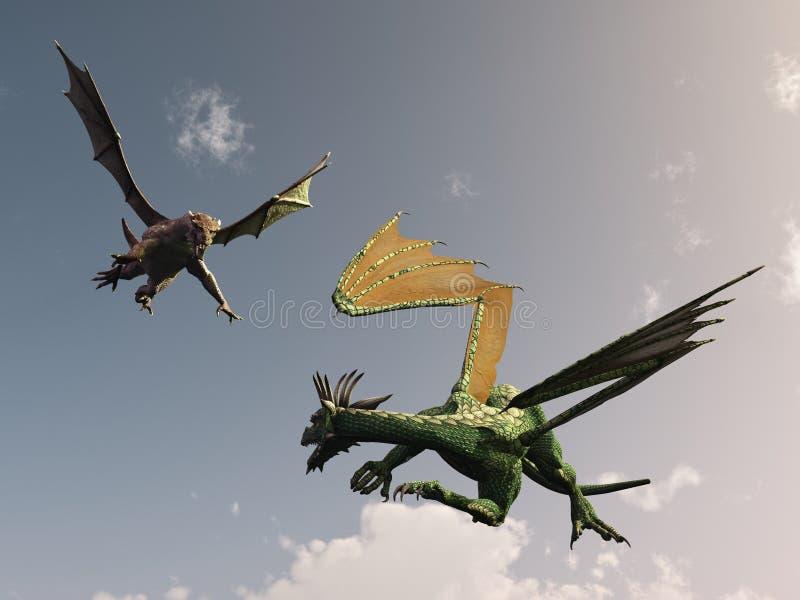 дракон нападения иллюстрация штока