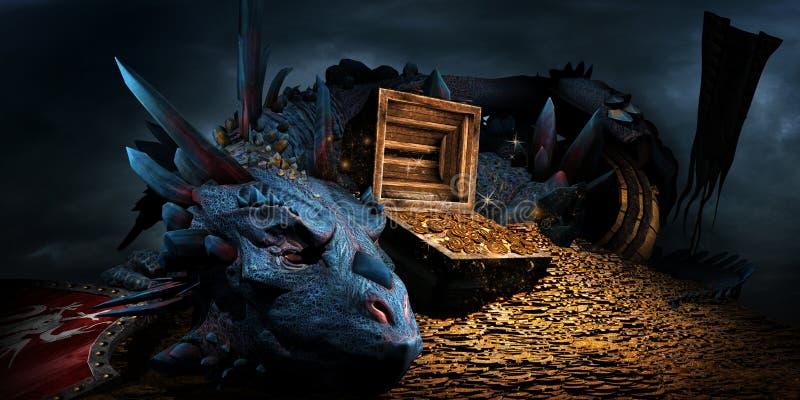 Дракон на стоге золота бесплатная иллюстрация