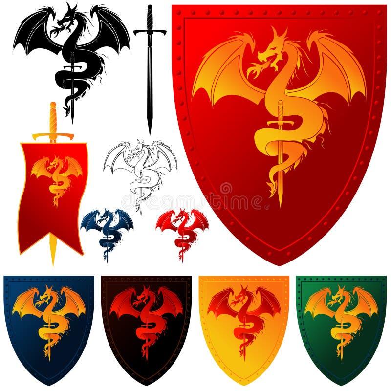 дракон пальто 102 рукояток иллюстрация вектора