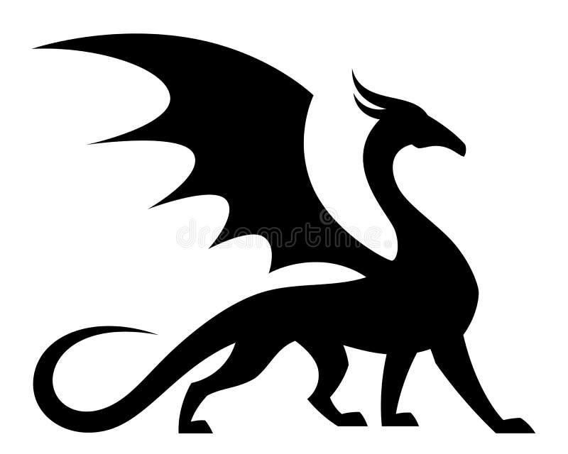 Дракон подогнали чернотой, который иллюстрация штока