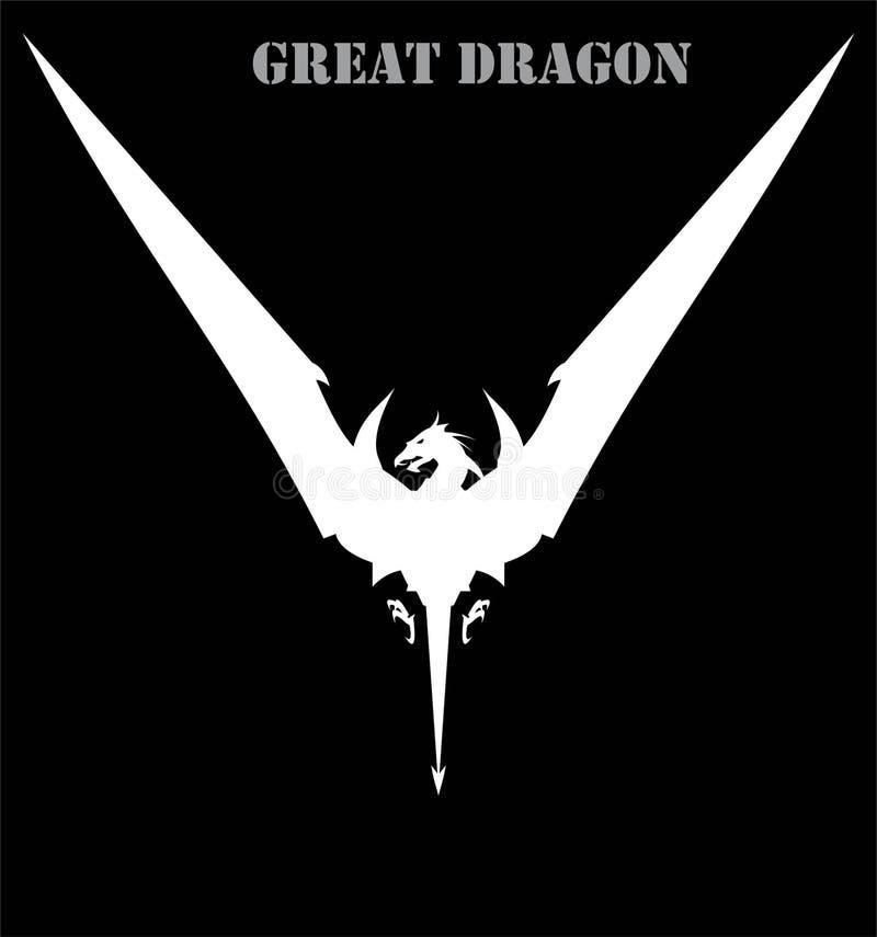 Дракон, распространяя свое крыло Белый дракон атакуя дракон иллюстрация вектора