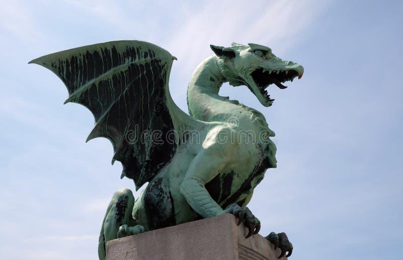Дракон - символ Любляны, Словении стоковые изображения