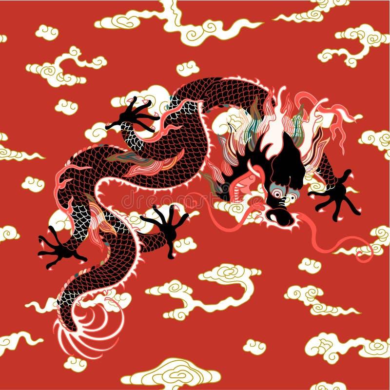 Дракон с облаками иллюстрация штока