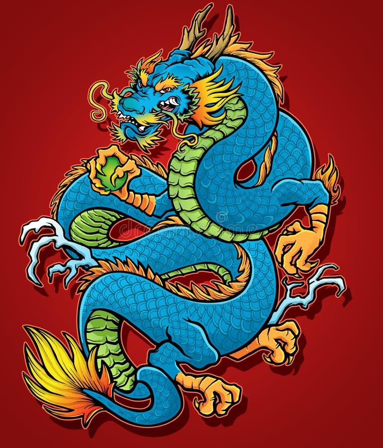 Спиральный китайский дракон иллюстрация вектора