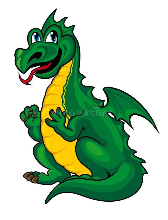 Дракон фантазии зеленый иллюстрация штока