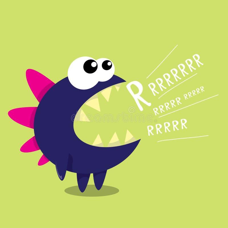 Дракон шаржа вектора смешной белизна шаржа изолированная динозавром бесплатная иллюстрация