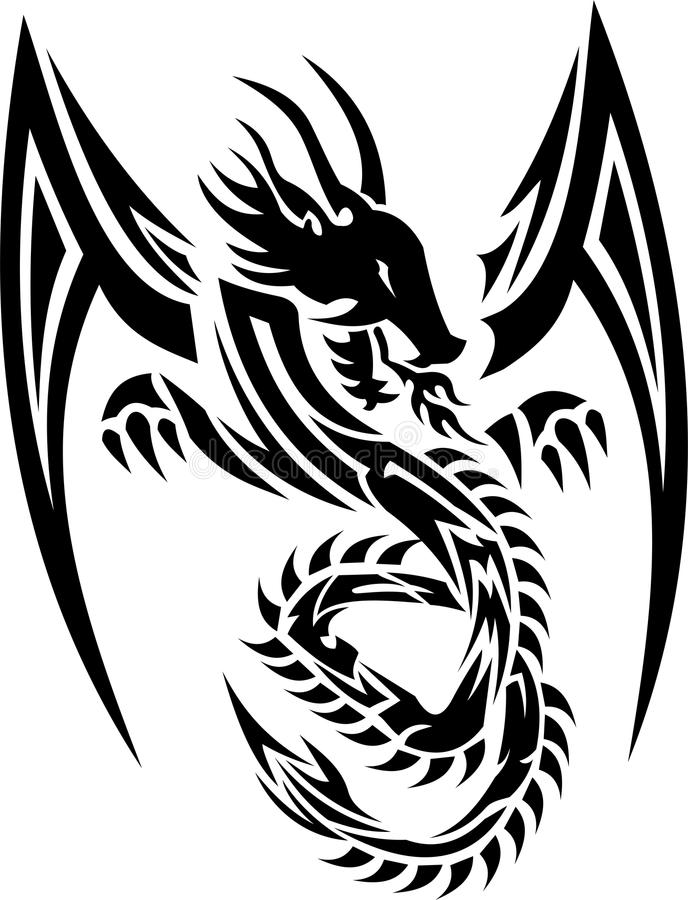 дракон 01 соплеменный иллюстрация вектора
