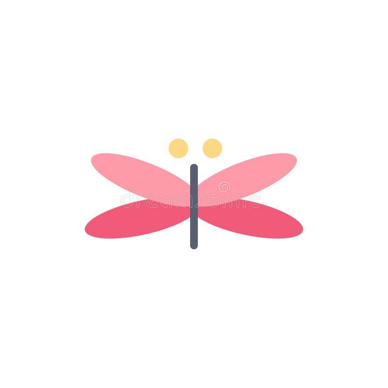 Дракон, Dragonfly, драконы, муха, значок цвета весны плоский Шаблон знамени значка вектора бесплатная иллюстрация