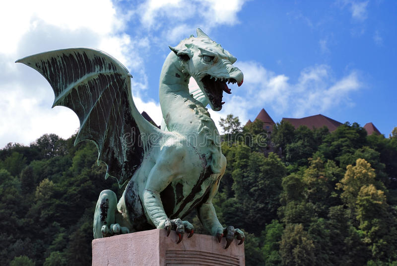 дракон ljubljana большинств zmajski Словении стоковая фотография rf