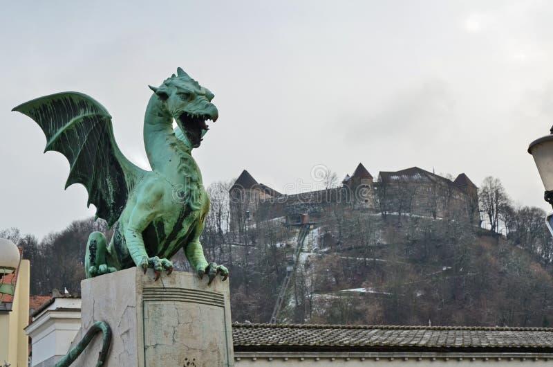 дракон ljubljana замока предпосылки b стоковая фотография