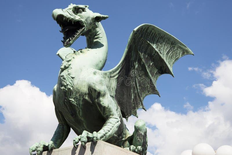 дракон ljubljana моста стоковое изображение rf