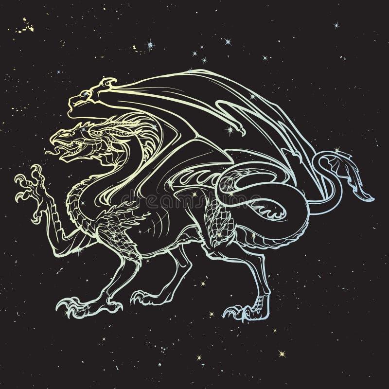 Дракон Mythilogical подогнало тварь иллюстрация вектора