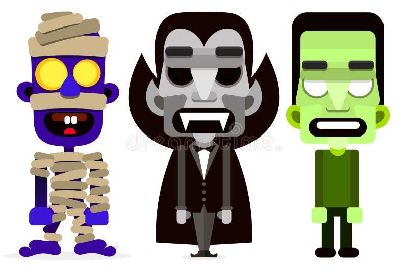 Дракула, мумия и комплект зомби извергов бесплатная иллюстрация