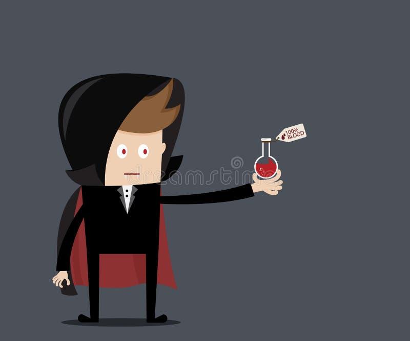 Дракула с кровью в стекле лаборатории иллюстрация штока