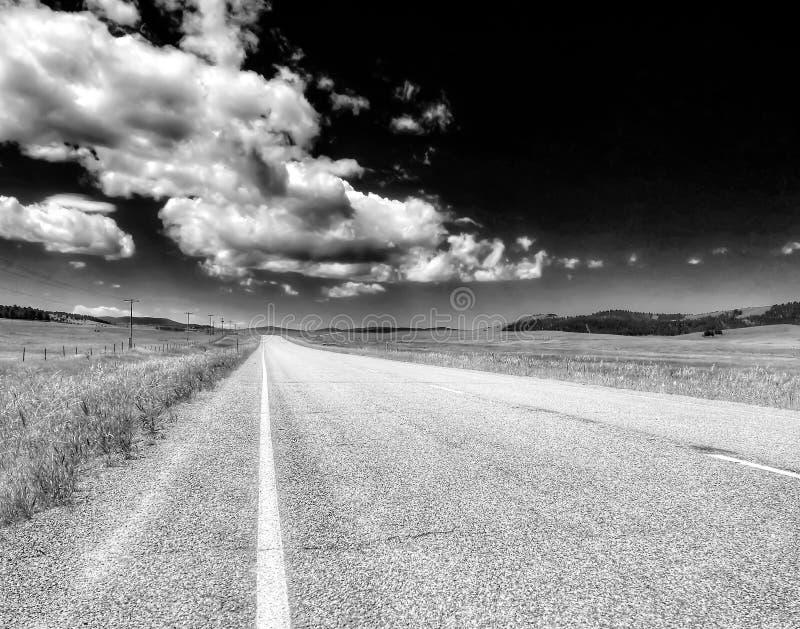 Драматическая черно-белая проселочная дорога в Монтане стоковое фото