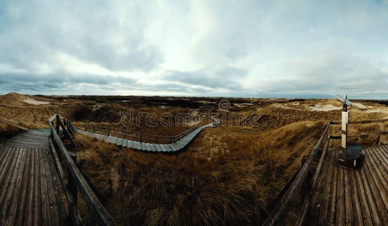 Драматический взгляд прибрежного променада, Amrum панорамы стоковое фото rf