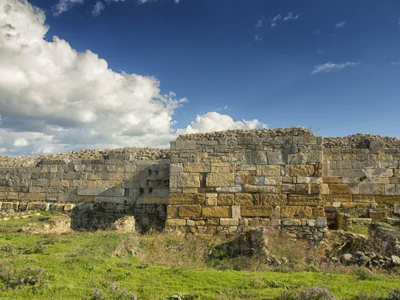 Драматическое голубое небо с белыми облаками над руинами колонии древнегреческия Histria, на берегах Чёрного моря Histria стоковое изображение rf