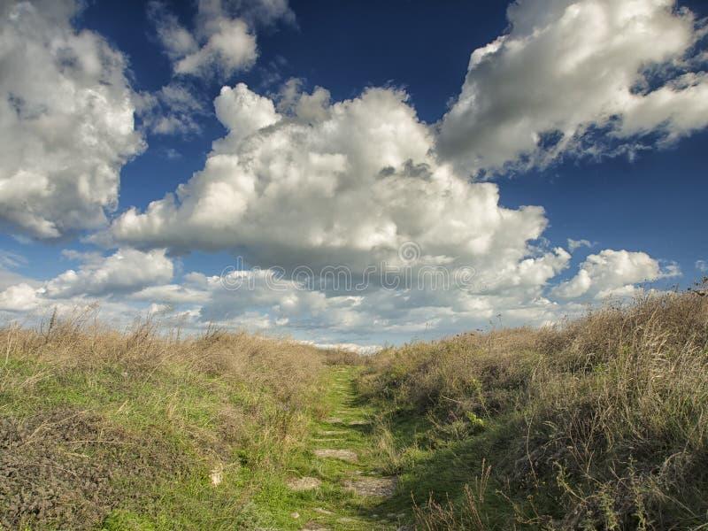 Драматическое голубое небо с белыми облаками над руинами колонии древнегреческия Histria, на берегах Чёрного моря Histria стоковое фото rf