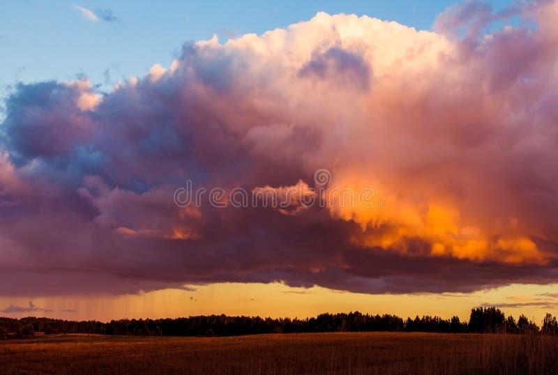 Драматическое небо захода солнца над полем стоковые изображения rf